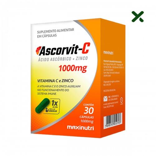 Ascorvit C - Vitamina C e Zinco 1000mg 30 Cápsulas - Maxinutri