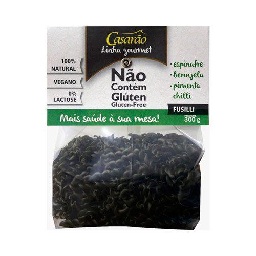 FUSILLI MASSA Gourmet Com Espinafre, Berinjela, Pimenta Chilli - 300g - Casarão