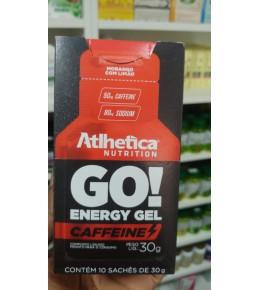GO! ENERGY GEL CAFFEINE (1 SACHÊS DE 30G) ATLHETICA NUTRITION SABOR MORANGO COM LIMAO