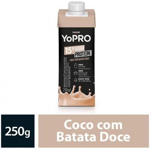 IOGURTE com WHEY E CASEINA 15g de proteína SABOR Côco e Batata Doce  YoPRO 250ml - ZERO LACTOSE
