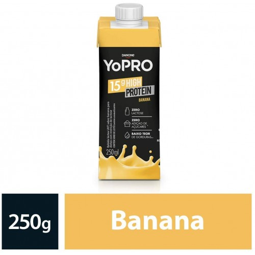IOGURTE com WHEY E CASEINA 15g de proteína SABOR Banana YoPRO 250ml - ZERO LACTOSE