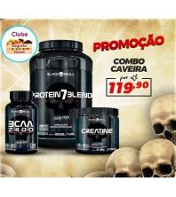 COMBO CAVEIRA BLACK SKULL: PROTEIN 7 BLEND 907G + BCAA 100 CAPS + CREATINE 150G