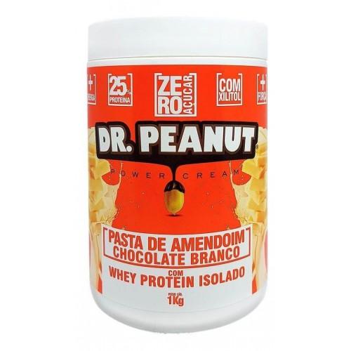 Pasta de Amendoim Chocolate Branco com Whey isolado e colageno (1Kg) Dr. Peanut