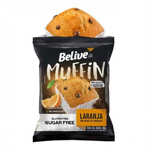 Muffin Laranja Com Gotas de Chocolate Sem Glúten Zero Açúcar 40g - Belive