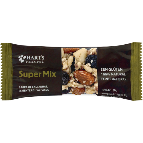 BARRA SUPER MIX CEREAIS, SEMENTES, CASTANHAS E PASSAS 35G HARTS NATURAL