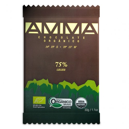 AMMA CHOCOLATES ORGÂNICOS - SEM LACTOSE - SEM GLÚTEN - ALTA QUALIDADE TABLETE 75% amargo 20g