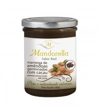 Manteiga de Amêndoas Germinadas com Cacau 180g - Sésamo Real - Mandorella
