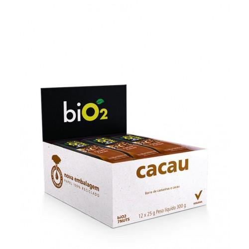 Barra De Castanhas COM CACAU 7 Nuts 25g BiO2 ( CAIXA FECHADA COM 12 UNIDADES )