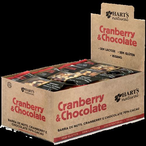 Barra de Amendoim, Amêndoas, Cranberry e Chocolate 70% Cacau Hart's CAIXA 20 UNIDADES