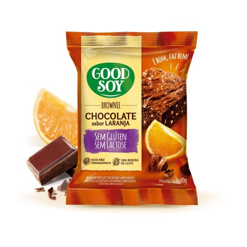 Brownie Chocolate Sabor Laranja 40G - Good Soy