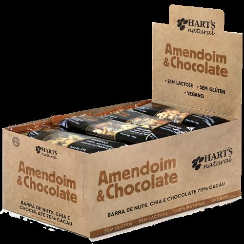 Barra Nuts Amendoim e Chocolate 70% cacau VEGANO Hart's Natural COM 20 UNIDADES