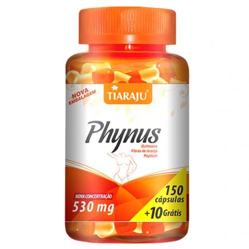 PHYNUS 160 CAPSULAS TIARAJU 530MG ( Quitosana (fibras de crustáceos), fibras de laranja e Psyllium)
