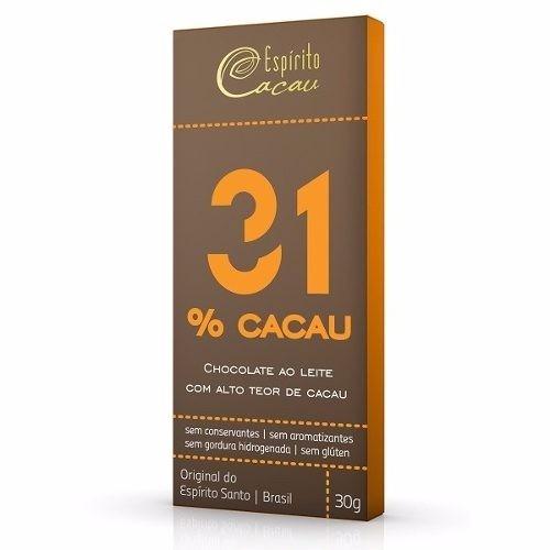 CHOCOLATE AO LEITE 31% 30G ESPIRITO CACAU