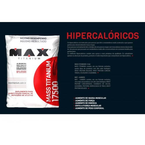 HIPERCALORICO MASS TITANIUM 17500 1,4KG REFIL SABOR MORANGO