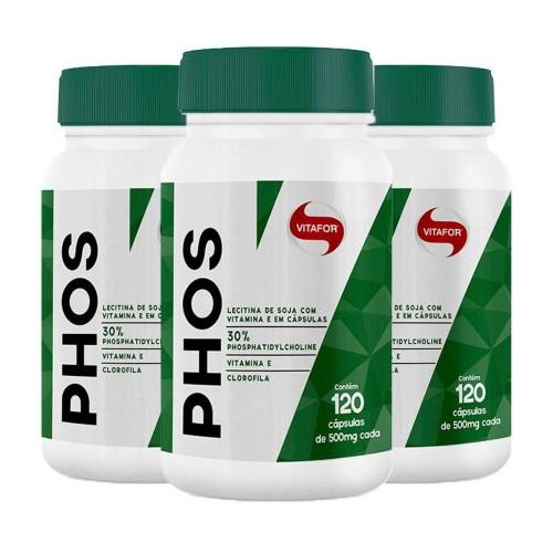 PHOS Fosfatidilcolina 500MG 120 CAPSULAS VITAFOR ( Lecitina de soja associado a Vitamina E e clorofila )